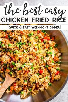 Easy Chicken Fried Rice is a quick and simple dinner you can make any night of the week. This stir fry is ready in just 30 minutes, full of healthy vegetables and kid-friendly, too - you can even make it if you don't have any leftover rice on hand! | #recipes #chicken #chickendinner #healthy #healthyrecipes #easydinner #dinner #dinnerrecipes #chickenfoodrecipes #chickenrecipes #kidfriendly #dinnerrecipes