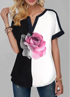 Rose Print Notch Neck Short Sleeve T Shirt – ooklyy Trendy Tops For Women, T Shirts For Women, Flower Shorts, Mode Outfits, Blouse Styles, Casual T Shirts, Types Of Sleeves, Short Sleeves, Shirt Style
