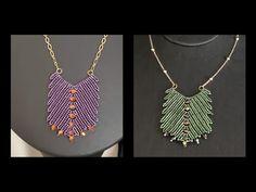 Herringbone Necklace, Herringbone Stitch, Bead Jewellery, Beaded Jewelry, Beaded Necklace Patterns, Jewelry Making Tutorials, Bead Weaving, Projects To Try, Dangles