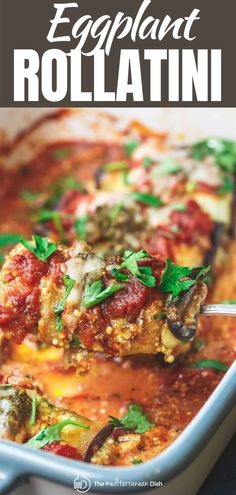 You'll love these eggplant rollatini made with a lightened up ricotta cheese mixture with parsley and basil pesto! Easy to make and you can make them ahead to freeze for later! #italianfood #italianrecipes #eggplant #eggplantcasserole #eggplantrollatini #rollatini #glutenfree #makeahead #mealprep #freezerfriendlydinner Vegetarian Recipes Easy, Clean Eating Recipes, Veggie Recipes, Dinner Recipes, Healthy Recipes, Vegetarian Dinners, Steak Recipes, Vegan Meals, Healthy Dinners