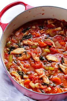 Tomato Basil Chicken Stew Recipe ~ Says: Fabulous... And it can be on the table in less than 30 minutes. OR, you can pop all of the ingredients in a slow cooker at the beginning of the day and have a delicious stew ready and waiting for you when you get home
