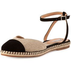 Tabitha Simmons Sebille Ankle-Wrap Espadrille Flat (565 CAD) ❤ liked on Polyvore featuring shoes, flats, ankle wrap flats, black espadrille flats, ankle tie espadrille, black flats and black flat shoes
