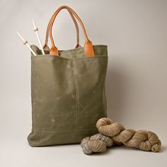 knitting bag by Knit-Purl. Green olive waxed canvas cotton | Tote