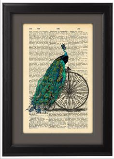 Peacock Art print Peacock with bicycle Vintage book by Natalprint