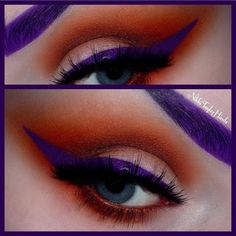 Sugarpill Cosmetics @sugarpill Striking look by @nikkitaylorhinds featuring #sugarpill Flamepoint eyeshadow! For the purple liner and brows she used @prettyzombiecosmetics 3 Witches liquid lipstick. Love this bold combo!