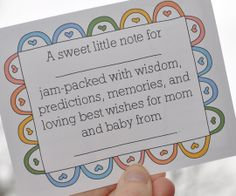 Baby Wishes & Predictions - Great idea in leiu of a guest book.  Free printable from Grace is Overrated #babyshower #freeprintables