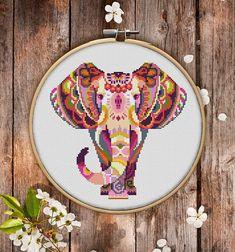 Mandala elephant cross stictch