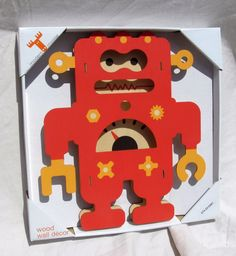 Red Robot Sci-Fi Wood Wooden Wall Hanging Hanger Boys Bedroom Plaque Home Decor #Unbranded #Robot