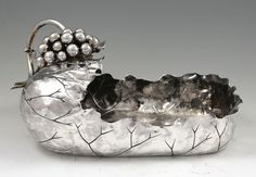 George Shiebler aesthetic period sterling silver bowl, in a grape leaves design with applied grapes - New York, c1880 (Britannia Silver)