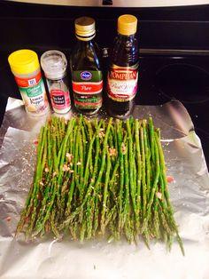 Grilled Asparagus  -garlic -red wine vinegar -olive oil -sea salt -lemon pepper  **mix it all together.. Wrap it in foil.. Toss on grill... 7 minutes each side.**
