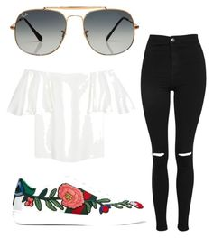 Untitled #9 by ferras-martine on Polyvore featuring polyvore fashion style Valentino Topshop Gucci Ray-Ban clothing
