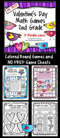NO PREP Valentine's Day Math Games for Second Grade - includes colored board games and black and white game sheets $