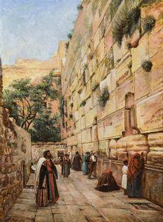 Ottoman Palestine, Jews Praying at the Western Wall in Jerusalem, 19th Century (Dua Eden Yahudiler)