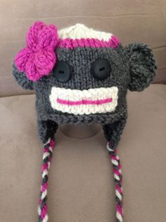 Knit Monkey Hat  Pink Cream and Gray with Pink Flower by MnStyle, $30.00