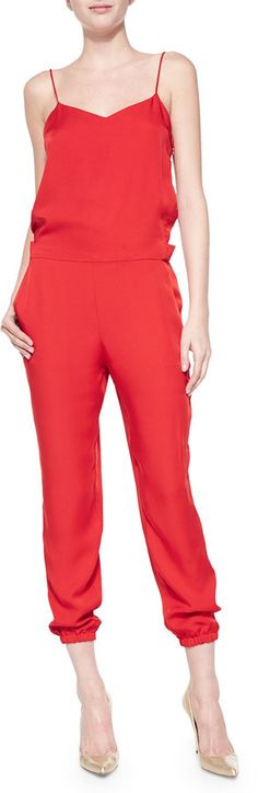 Theory Stassia Cropped Spaghetti-Strap Jumpsuit