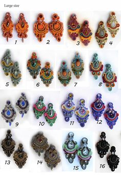 Large size earrings for $50 (Order your own colors!) Soutache Pendant, Soutache Jewelry, Beaded Earrings, Earrings Handmade, Beaded Jewelry, Handmade Jewelry, Soutache Tutorial, Shibori, Clay Jewelry