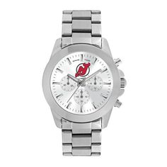 Ladies New Jersey Devils Knockout Watch. The Game Time women's silver watch features the Devils team logo proudly centered on the face situated between three eyes. The stainless steel bracelet with do