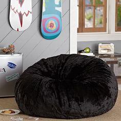 Black Luxe Faux Fur Beanbag #pbteen