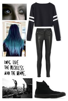 """Long Live the Reckless and the Brave"" by yoitsmeg87 ❤ liked on Polyvore featuring BLK DNM and Converse"