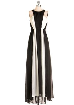 Lights, Drama, Action! Dress - Black, White, Colorblocking, Maxi, Woven, Cutout, Special Occasion, Prom, Homecoming, Sleeveless