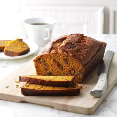 Pumpkin Bread Recipe -I keep my freezer stocked for our harvest crew with home-baked goodies like this deliciously spicy pumpkin-rich quick bread. —Joyce Jackson, Bridgetown, Nova Scotia