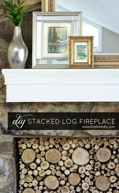How to make a stacked log fireplace!