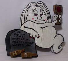 Wasted Mae You Only Live Once Female Red Wine Drinking Ghost Sign/Plaque by Winefi on Etsy