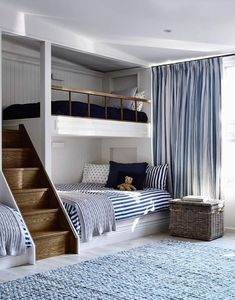 If there are kids in your family with a nautical bent, what better way to jazz up their rooms than with beach-themed bunk beds? Bunk beds don't just save space, . Read moreSpruce Up a Bedroom with these Creative Beach Bunk Beds Bunk Rooms, Boys Bunk Bed Room Ideas, Boy Bedrooms, Bunk Beds For Kids, Cool Boys Room, Bunk Beds Built In, Beds For Children, Rooms For Kids, Built In Beds For Kids