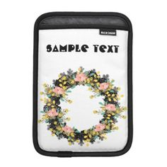 "Wreath ""Pink Yellow"" Flowers Floral Laptop Sleeve - sample design diy personalize idea"