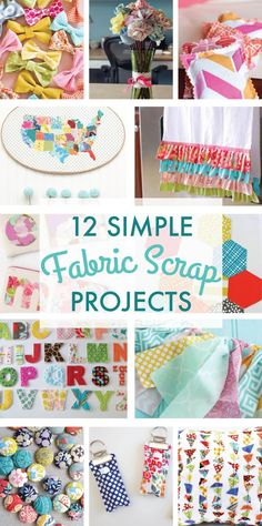 Sewing Projects For Kids 12 Simple Scrap Fabric Projects on Love the Day - A collection of 12 Simple Scrap Fabric Projects including fabric bows, alphabet letters, magnets, chapstick holders, a fabric bunting and ruffled tea towel. Sewing Basics, Sewing Hacks, Sewing Tutorials, Sewing Crafts, Sewing Tips, Sewing Ideas, Scrap Fabric Projects, Sewing Projects For Beginners, Fabric Scraps