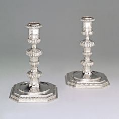 A Pair of William and Mary Antique English Silver Candlesticks London, 1692 by Pierre Harache