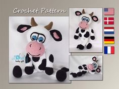 Cow, Amigurumi Crochet Pattern, Stuffed Animal, Tutorial, CP-145 by LovelyBabyGift on Etsy https://www.etsy.com/dk-en/listing/241649212/cow-amigurumi-crochet-pattern-stuffed