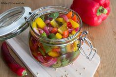 eingelegte bunte paprika rezept selber machen einmachen chili essig