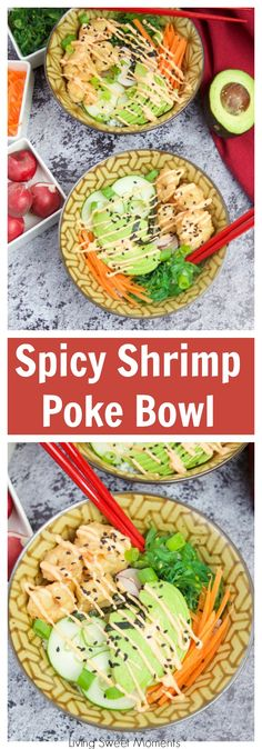 This delicious spicy shrimp poke bowl recipe is served with hot sushi rice, spicy mayo, avocados, radishes, and carrots. A quick weeknight dinner idea. More fun recipes at livingsweetmoments.com via @Livingsmoments #ad