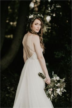 BHLDN Wedding Dress / Flowers By Nature, Bride with a Flower Crown & Whimsical Bridal Bouquet / Outdoor, backyard wedding in upstate NY / Photos by www.shawphotoco.com Bhldn Wedding Dress, Stunning Wedding Dresses, Boho Wedding, Backless Wedding, Destination Wedding, Bohemian Weddings, Wedding 2017, Wedding Bouquet, Wedding Gowns