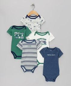 Take a look at this Blue & Paris Green 'Racing Team' Branded Bodysuit Set by Calvin Klein Underwear on #zulily today!
