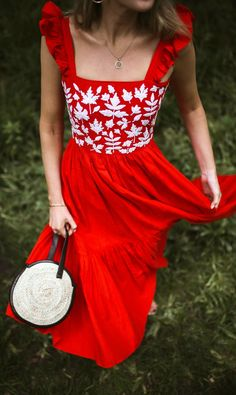 30 Dresses in 30 Days | Day 30: Fourth of July // Bright red sleeveless midi dress with embroidered bodice, black flat sandals with bow, straw bolero boater hat, classic denim jacket, round straw bag {J.crew, Janessa Leone, classic style, fourth of july outfit, summer trends}
