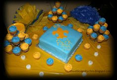 Blue and Gold Cake and Cupcakes. Perfect combo for all needs . @Kimberly Williams