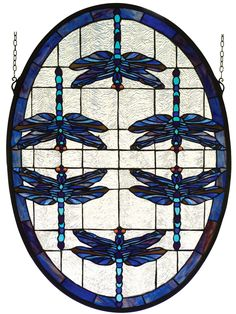 22 Inch W X 30 Inch H Dragonflies Oval Stained Glass Window - 22 Inch W X 30 Inch H Dragonflies Oval Stained Glass WindowMULTICOLORED DRAGONFLIES DANCE ON A FIELD OF RIPPLED ICE BORDERED WITH PLUM AND SAPPHIRE. THEIR AMBER EYESGIVE A LIVELY GLOW TO THIS HAND CRAFTED ART GLASS MEYDA ORIGINAL DESIGN OF A FAVORITE SUBJECT OF LOUISCOMFORT TIFFANY. BRASS HANGING BRACKET AND CHAINS ARE INCLUDED. Theme: NOUVEAU INSECTS Product Family: Dragonflies Oval Product Type: WINDOWS Product Application…