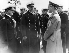 fuehrerbefehl: Hitler speaking with Grand Admiral Erich Raeder and the future and last Grand Admiral Karl Dönitz.