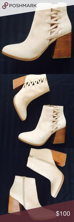 "Aldo suede leather booties Brand new with box. Heel height 3.5"", color: cream Aldo Shoes Ankle Boots & Booties"