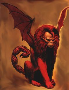 Manticore-Persian myth: a man faced lion beast. It had bat like wings and a scorpion tail that shoot venomous quills. It was known as a man eater. Not leaving any clothes, bones, or belongings of the people it devours.