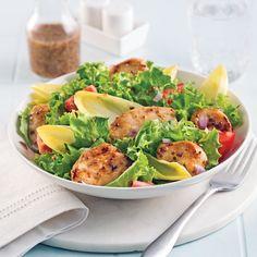 Salade au poulet grillé - Les recettes de Caty Bruschetta, Cobb Salad, Potato Salad, Potatoes, Lunch, Chicken, Healthy, Ethnic Recipes, Copyright