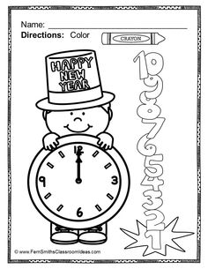 New Years Coloring Party Hats Free printable Free and Holidays