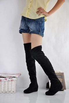 Thigh High Boots Low Heel