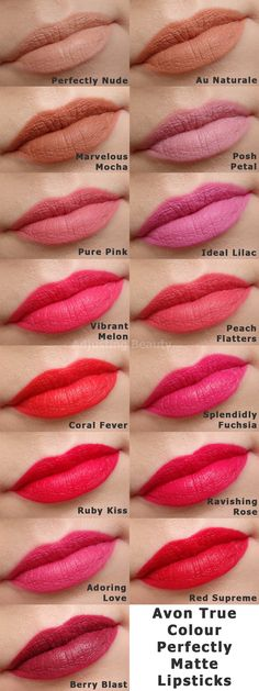 Review and swatches of Avon True Colour Perfectly Matte Lipsticks - all shades!