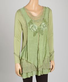 Look what I found on #zulily! Pretty Angel Green Layered Linen-Blend Tunic by Pretty Angel #zulilyfinds