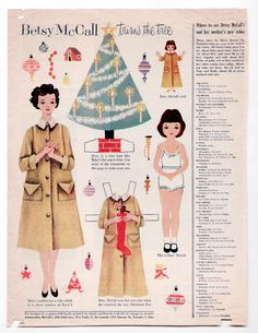 Vintage Betsy McCall Trims The Christmas Tree Paper Dolls December 1954 Uncut | eBay