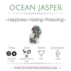 Metaphysical Healing Properties of Ocean Jasper, including associated Chakra, Zodiac and Element, along with Crystal System/Lattice to assist you in setting up a Crystal Grid. Go to https:/wwwsoulsistersdesigns.com to learn more!