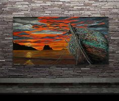 The Sunset Watcher-Original art seascape oil painting on canvas by by Blowart on Etsy Back Painting, Painting Edges, Oil Painting On Canvas, Acrylic Paintings, Sunset Sky, Original Art, Texture, Artist, Artwork